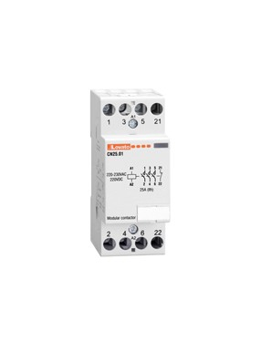 Contattore modulare tripolare +1NO 25A Bobina 230V
