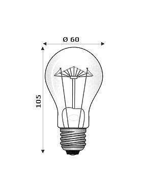 Lampada Ad Incandescenza E27 220/240V 60W Filamenti Rinforzati